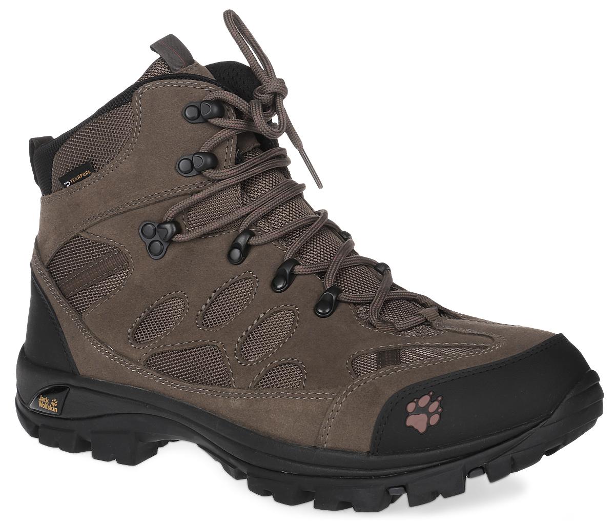 4017871-3720Классические водостойкие трекинговые ботинки All Terrain 7 Texapore от Jack Wolfskin воплощают все качества, необходимые в многодневных трекинг-походах: вот уже несколько лет водостойкие ботинки All Terrain привлекают повышенной комфортностью, хорошими характеристиками переката и мощной амортизацией. Модель выполнена из натуральной замши и дышащего и водостойкого материала. Дышащая, быстросохнущая подкладка из полиэстера Circuliner (Сёркулайнер) сохраняет тепло и комфорт. Седьмая версия ботинок All Terrain оснащена шероховатой, жесткой на кручение и легкой подошвой Vibram (Вибрам), которая гарантирует хорошую амортизацию и отличное сцепление с поверхностью. Расположенная снизу мембрана Texapore (Тексапор) гарантирует надежную защиту от влаги. Эти ботинки рекомендуется надевать как в однодневные, так и в многодневные походы. Шнуровка через металлические крючки надежно фиксирует обувь на ноге.
