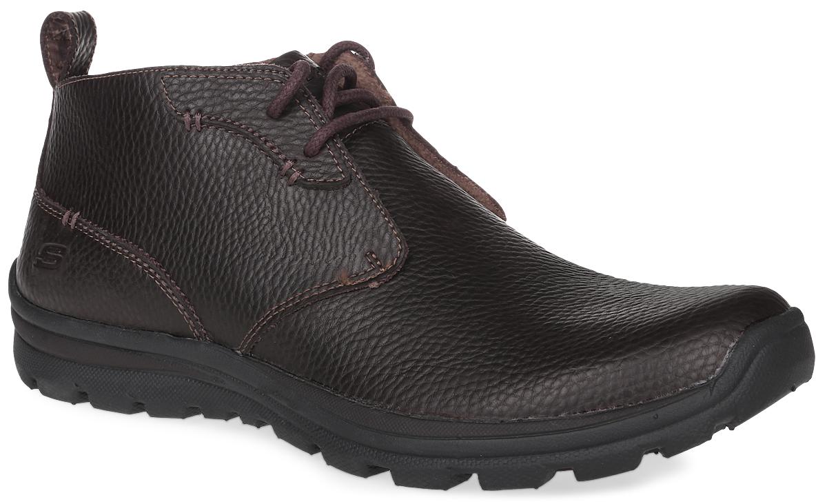 Ботинки999684-BLKЛегкие и комфортные мужские ботинки Glides-Piaro от Skechers выполнены из натуральной кожи, что позволяет чувствовать себя комфортно в любую погоду. Стелька Memory Foam повторяет форму стопы за счет специальной пены, которой она заполнена. Также комфорт обеспечивает расширенная носочная часть Relaxed FIT - благодаря этому появляется дополнительное пространство для пальцев ноги. Классическая шнуровка надежно фиксирует обувь на ноге. Резиновая подошва обеспечивает высокую степень надежности и сцепление на поверхности.