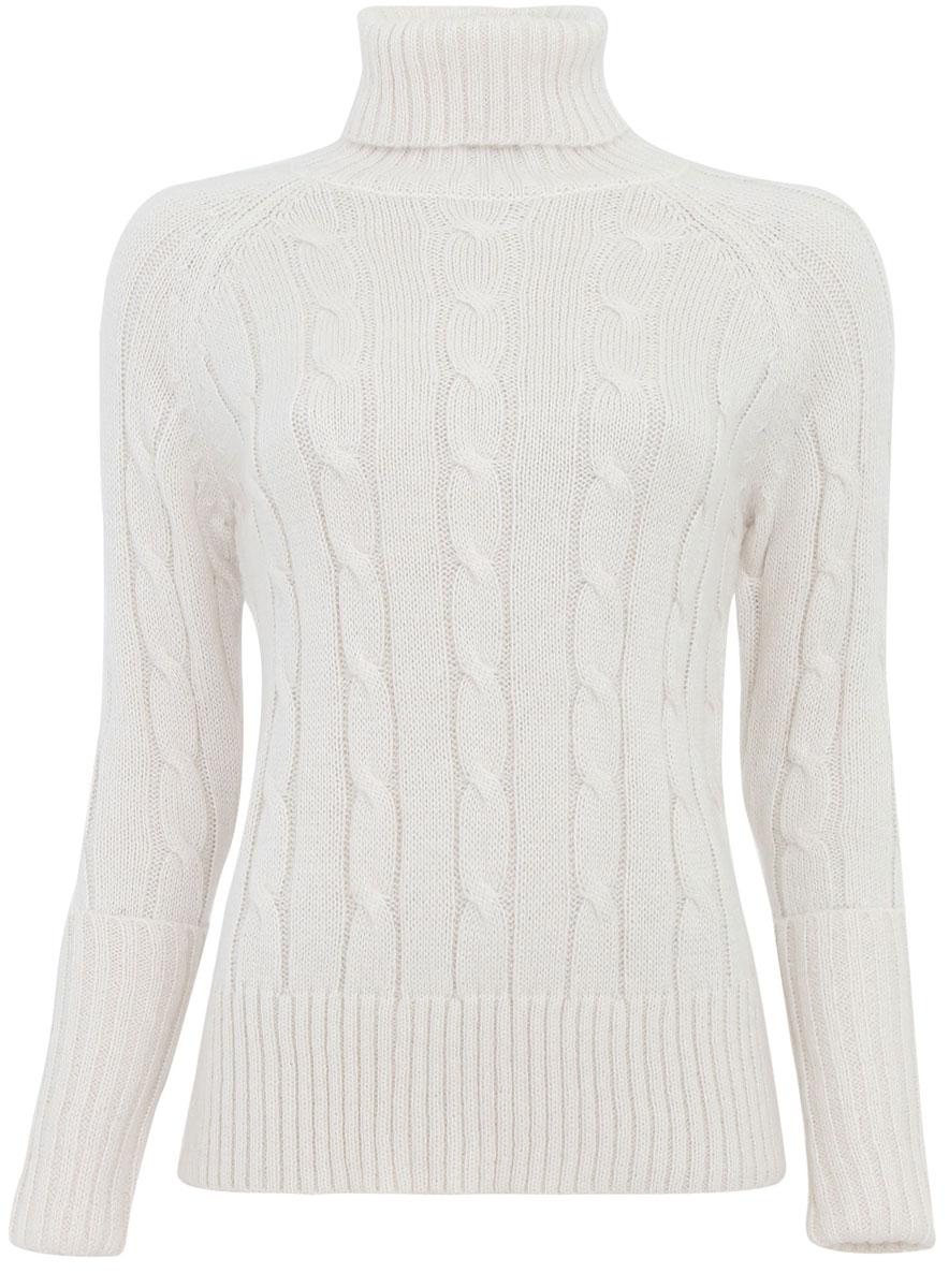 Свитер74407103-1M/45121/1200NМодный женский свитер oodji Collection, изготовленный из ПАН-волокна с добавлением мохера, мягкий и приятный на ощупь, не сковывает движений и обеспечивает комфорт. Модель с воротником-гольф и длинными рукавами-реглан оформлена оригинальным вязаным узором. Горловина, манжеты рукавов и низ изделия связаны резинкой. Манжеты рукавов дополнены декоративными отворотами.