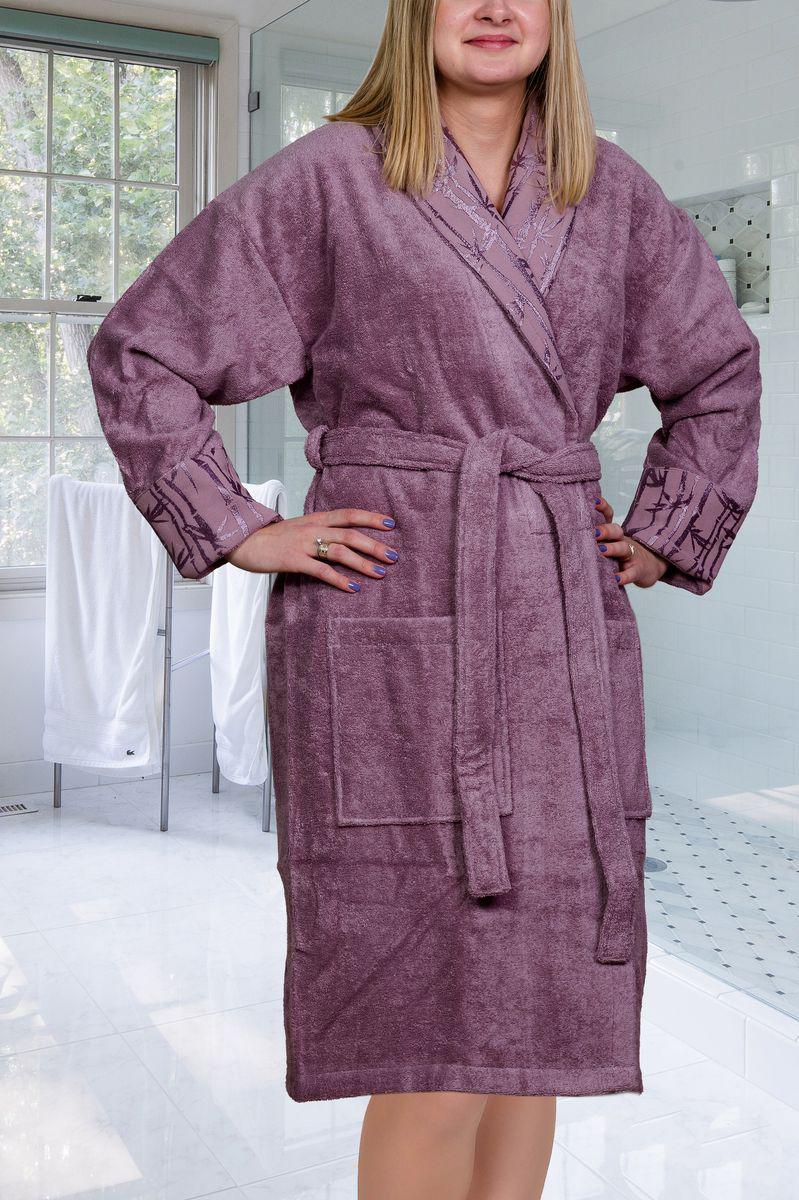 ХалатElizaХалат женский Hobby Home Collection Eliza с воротником шаль выполнен из плотной бархатистой ткани - смеси хлопка и бамбукового волокна. Халат с запахом на поясе имеет два накладных кармана. Халат оформлен вышивкой в виде бамбуковых побегов по периметру воротника и на манжетах. Отлично впитывает влагу, пропускает воздух и прост в уходе. Удобен как в носке дома постоянно, так и в эксплуатации после приема ванны или душа. Мягкий пояс прилагается.