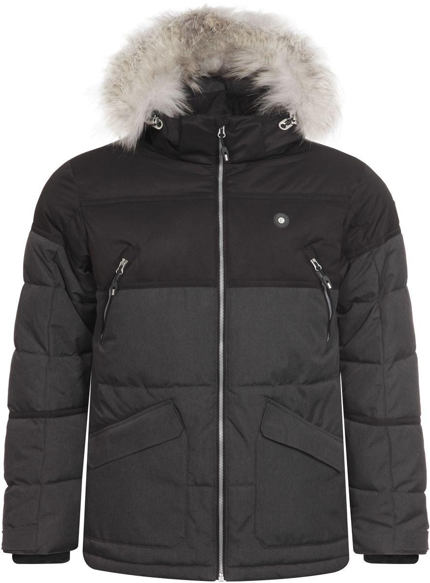 Куртка656225626IV_260Мужская куртка Icepeak Carl выполнена из водонепроницаемой и дышащей ткани - высококачественного полиэстера. Подкладочный материал Super Soft Touch легкий и обладает хорошей теплоемкостью. В качестве наполнителя используется FinnWad - 100% полиэстер. Модель с воротником-стойка и съемным капюшоном застегивается на застежку-молнию. Капюшон, оформленный искусственным мехом, пристегивается к куртке с помощью застежки-молнии, кнопок и липучек. Изделие оснащено двумя накладными карманами на застежках-молниях и с клапанами на липучках, на груди - двумя прорезными карманами на застежках-молниях, с внутренней стороны - прорезным карманом на застежке-молнии. Рукава дополнены внутренними текстильными манжетами и регулируются с помощью хлястиков с липучками. Объем капюшона регулируется при помощи эластичного шнурка и хлястика на липучке. Низ изделия также оснащен эластичным шнурком со стопперами. С внутренней стороны куртка имеет снегозащитный манжет на кнопках.