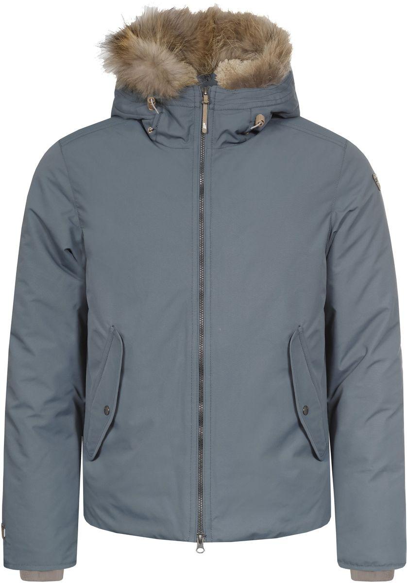 656053532IV_569Мужская куртка Icepeak Tuck выполнена из непромокаемой и непродуваемой ткани. Куртка с несъемным капюшоном застегивается на удобную застежку-молнию спереди. Капюшон дополнен шнурком-кулиской со стопперами. Рукава оснащены внутренними трикотажными манжетами. Спереди расположены два втачных кармана на застежках-молниях клапанами на кнопках, изнутри - втачной карман на застежке-молнии и накладной карман-сетка.