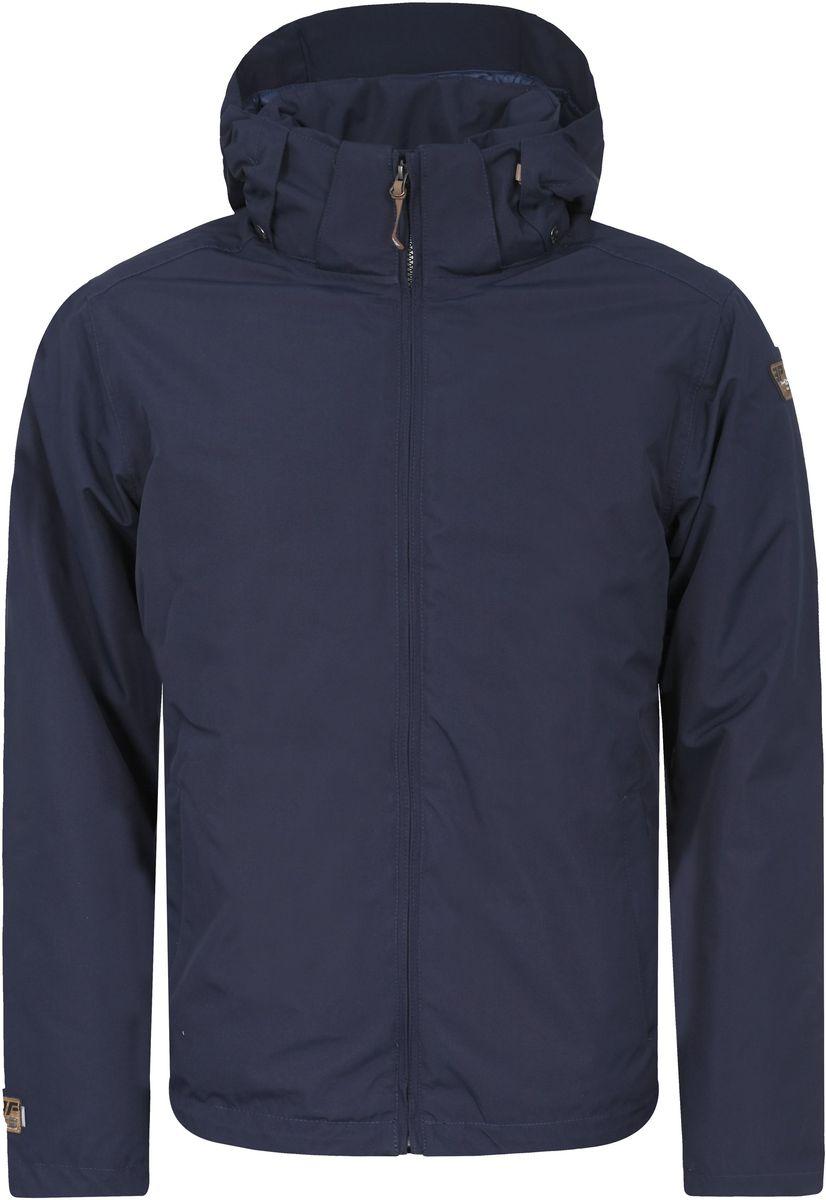 Куртка656038532IVМужская куртка Icepeak Thad с длинными рукавами и съемным капюшоном на кнопках и застежке-молнии выполнена из полиэстера. Наполнитель - синтепон. Куртка застегивается на застежку-молнию спереди. Изделие оснащено двумя втачными карманами на молниях спереди, внутренним втачным карманом на молнии и накладным карманом-сеткой. Объем капюшона регулируется при помощи шнурка-кулиски.