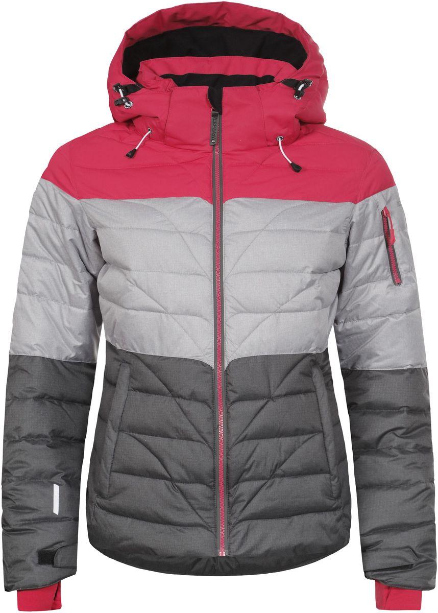 Куртка653234553IV_640Женская куртка Icepeak Kendra выполнена из водонепроницаемой и дышащей ткани - высококачественного полиэстера. Подкладочный материал Soft Touch легкий и обладает хорошей теплоемкостью. В качестве наполнителя используется FinnWad - 100% полиэстер. Модель с воротником-стойка и съемным капюшоном застегивается на застежку-молнию. Капюшон пристегивается к куртке с помощью застежки-молнии, кнопок и липучек. Изделие оснащено двумя прорезными карманами на застежках-молниях, с внутренней стороны - прорезным карманом на застежке-молнии, отверстием для наушников и двумя сетчатыми карманами, на рукаве - прорезным карманом на застежке-молнии. Рукава дополнены внутренними текстильными манжетами и регулируются с помощью хлястиков с липучками. Объем капюшона регулируется при помощи эластичных шнурков. Низ изделия также оснащен эластичным шнурком со стопперами. С внутренней стороны куртка имеет снегозащитный манжет на кнопках. Светоотражающие элементы увеличивают вашу безопасность в темное время...