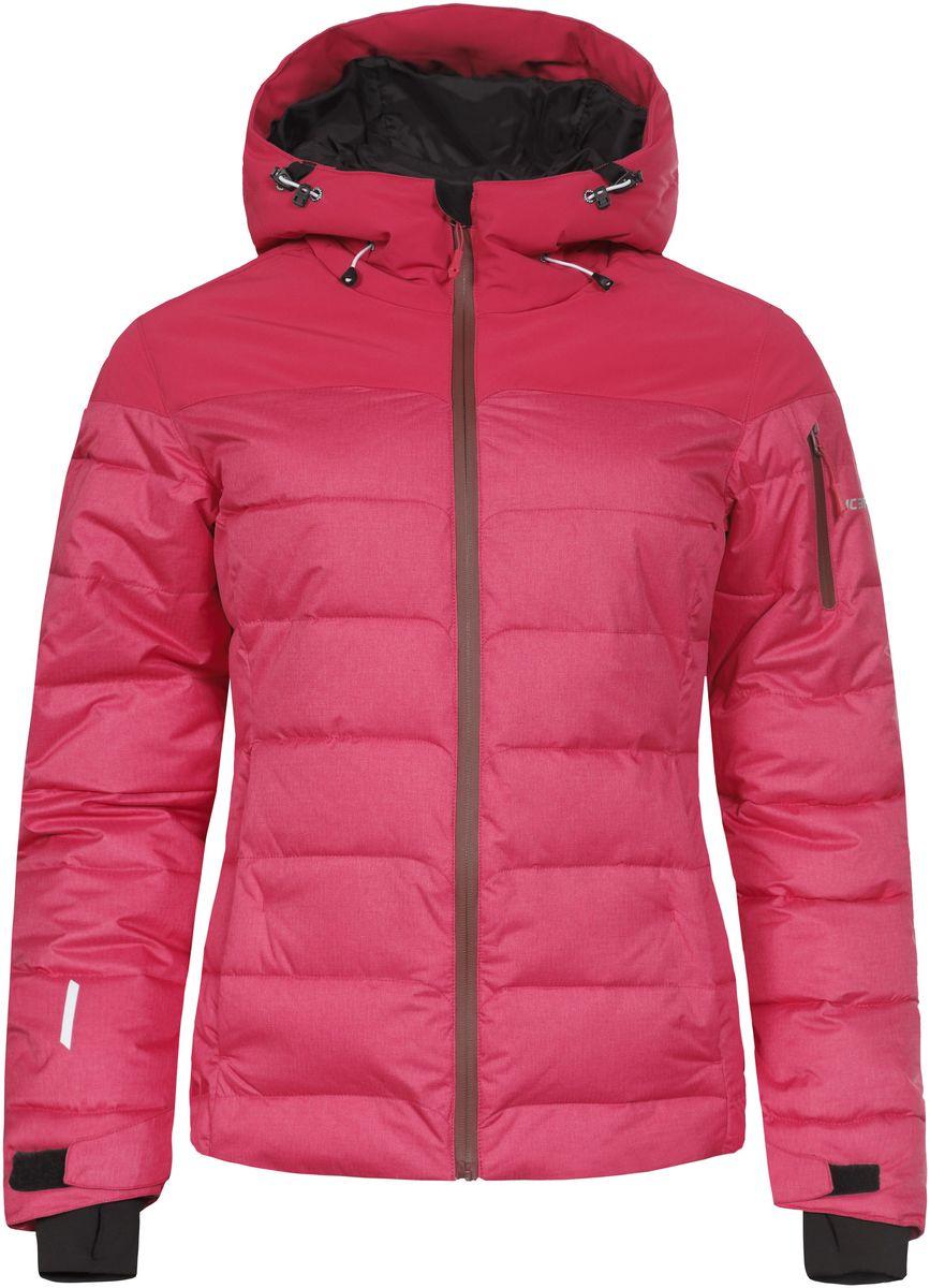 653233593IV_640Женская куртка Icepeak Keira выполнена из водонепроницаемой и дышащей ткани - высококачественного полиэстера. Подкладочный материал Soft Touch легкий и обладает хорошей теплоемкостью. В качестве наполнителя используется FinnWad - 100% полиэстер. Модель с несъемным капюшоном застегивается на застежку-молнию. Изделие оснащено двумя прорезными карманами на застежках-молниях, с внутренней стороны - прорезным карманом на застежке-молнии, отверстием для наушников и двумя сетчатыми карманами, на рукаве - прорезным карманом на застежке-молнии. Рукава дополнены внутренними текстильными манжетами и регулируются с помощью хлястиков с липучками. Объем капюшона регулируется при помощи эластичного шнурка. Низ изделия также оснащен эластичным шнурком со стопперами. С внутренней стороны куртка имеет снегозащитный манжет на кнопках. Светоотражающие элементы увеличивают вашу безопасность в темное время суток.