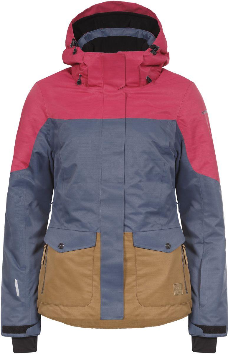 Куртка653229576IV_371Женская куртка Icepeak Katlyn выполнена из непромокаемой ветрозащитной ткани, утеплена наполнителем FinnWad. Куртка с воротником-стойкой и съемным капюшоном на застежке-молнии, липучках и кнопках застегивается на удобную застежку-молнию спереди. Капюшон дополнен шнурком-кулиской со стопперами. Рукава оснащены хлястиками на липучках и внутренними манжетами с прорезями для большого пальца. По бокам куртки, от линии талии до середины рукавов, расположены вентиляционные отверстия с сетчатыми вставками, закрывающиеся на застежки-молнии. Спереди расположены два накладных кармана на застежках-молниях, изнутри - втачной карман на застежке-молнии и накладной карман-сетка. Модель дополнена съемной противоснежной юбкой на застежке-молнии. Швы проклеены. Куртка имеет светоотражающие элементы.