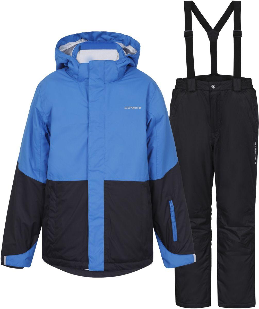 652129501IV_345Комплект для мальчика Icepeak Hagan Jr, состоящий из куртки и брюк изготовлен из водоотталкивающей и ветрозащитной ткани, утеплен синтепоном. В качестве подкладки используется полиэстер. Куртка с капюшоном и воротником стойкой застегивается на молнию и дополнительно имеет ветрозащитный клапан на липучках и кнопках. Капюшон пристегивается при помощи кнопок. Края рукавов дополнены резинками и хлястиками с липучками. Модель спереди дополнена двумя прорезными карманами на молниях. Внутри изделие дополнено противоснежной юбкой на застежках-кнопках. Брюки прямого кроя на талии застегиваются на кнопку и ширинку на молнии. По бокам модель дополнена двумя прорезными кармашками на застежках- молниях. Снизу брючин предусмотрены внутренние муфты с прорезиненными полосками. Модель оснащена эластичными наплечными лямками, регулируемыми по длине. Лямки пристегиваются при помощи липучек.