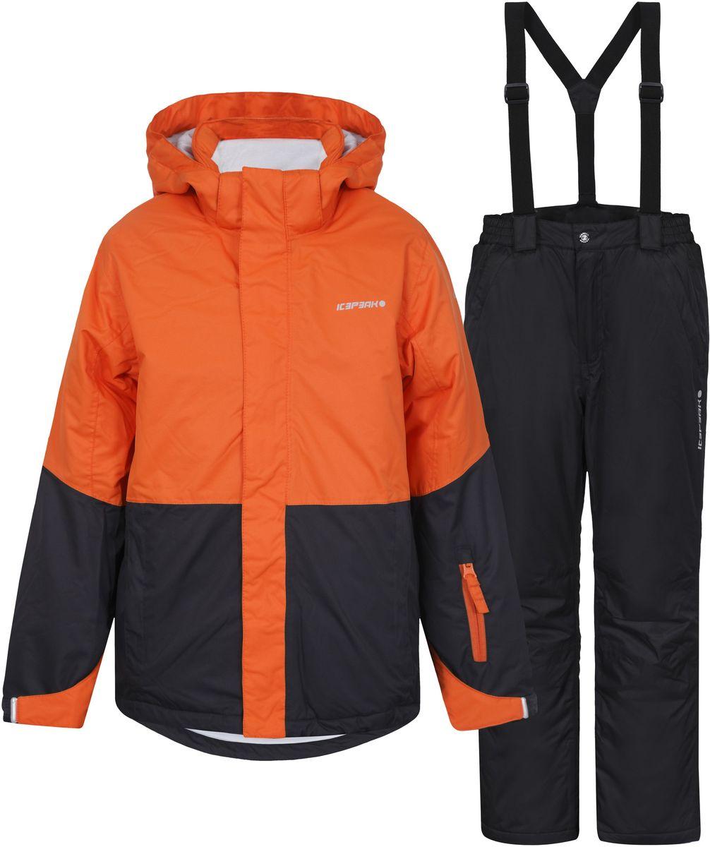 Комплект верхней одежды652129501IV_345Комплект для мальчика Icepeak Hagan Jr, состоящий из куртки и брюк изготовлен из водоотталкивающей и ветрозащитной ткани, утеплен синтепоном. В качестве подкладки используется полиэстер. Куртка с капюшоном и воротником стойкой застегивается на молнию и дополнительно имеет ветрозащитный клапан на липучках и кнопках. Капюшон пристегивается при помощи кнопок. Края рукавов дополнены резинками и хлястиками с липучками. Модель спереди дополнена двумя прорезными карманами на молниях. Внутри изделие дополнено противоснежной юбкой на застежках-кнопках. Брюки прямого кроя на талии застегиваются на кнопку и ширинку на молнии. По бокам модель дополнена двумя прорезными кармашками на застежках- молниях. Снизу брючин предусмотрены внутренние муфты с прорезиненными полосками. Модель оснащена эластичными наплечными лямками, регулируемыми по длине. Лямки пристегиваются при помощи липучек.