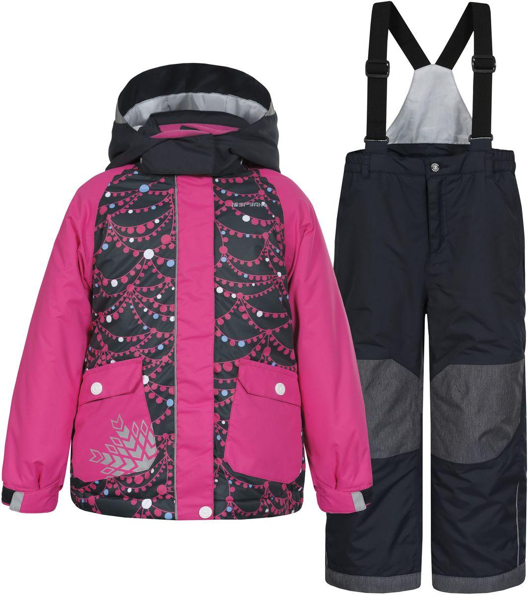 652102502IV_390Комплект для девочки Icepeak Jody Kd выполнен из 100% полиэстера и состоит из куртки и брюк. В качестве подкладки и утеплителя также используется 100% полиэстер. Ткань изготовлена с применением технологии ICEMAX, с водонепроницаемой и воздухопроницаемой мембраной 5000мм/2000 г/м2 /24 ч, которая защищает от ветра и влаги даже в экстремальных условиях. Брюки застегиваются на молнию и пуговицу. Подкладка брюк выполнена из гладкой ткани. Изделие дополнено эластичными наплечными лямками, регулируемыми по длине. На талии по бокам предусмотрена широкая эластичная резинка. Снизу брючин предусмотрены муфты с прорезиненными полосками, препятствующие попаданию снега в обувь и не дающие брючинам задираться вверх. Куртка со съемным капюшоном и воротником-стойкой застегивается на пластиковую застежку-молнию с защитой для подбородка и дополнительно имеет ветрозащитную планку на липучках и кнопках. Капюшон пристегивается при помощи кнопок. Манжеты рукавов дополнены...
