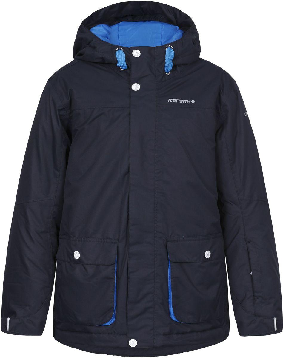 Куртка650027564IV_390Куртка для мальчика Icepeak Hugo Jr c длинными рукавами и несъемным капюшоном выполнена из ветрозащитной и водонепроницаемой мембранной ткани. Наполнитель - материал FinnWad. Модель застегивается на застежку-молнию спереди и имеет ветрозащитный клапан на кнопках и липучках. Изделие имеет два накладных кармана на застежках-молниях спереди, а также внутренний втачной карман на застежке-молнии и внутренний накладной карман-сетку. Куртка декорирована имитацией накладных карманов с клапанами на кнопках. Рукава оснащены внутренними эластичными манжетами. Объем низа регулируется при помощи шнурка-кулиски. Куртка дополнена несъемной противоснежной юбкой на кнопках.