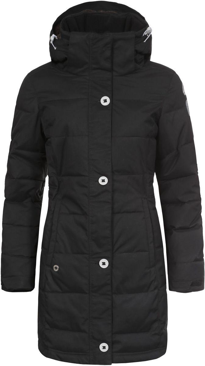 636426346LV_990Женская куртка Luhta Berit выполнена из прочного полиамида. Наполнитель - материал FinnWad, изготовленный из полиэстера. Куртка с воротником-стойкой и съемным капюшоном застегивается на удобную застежку-молнию спереди и имеет ветрозащитный клапан на пуговицах. Капюшон дополнен шнурком-кулиской со стопперами. Рукава оснащены хлястиками на липучках и дополнены внутренними трикотажными манжетами. Спереди расположены два открытых втачных кармана, изнутри - втачной карман на застежке-молнии и накладной карман-сетка. Низ куртки оснащен внутренним шнурком-кулиской. Обхват талии также регулируется при помощи внутреннего шнурка-кулиски.