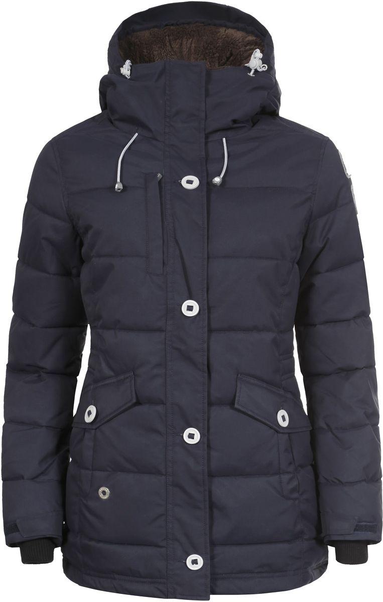 636425346LV_390Женская куртка Luhta Berit выполнена из прочного полиамида. Наполнитель - материал FinnWad, изготовленный из полиэстера. Куртка с воротником-стойкой и съемным капюшоном застегивается на удобную застежку-молнию спереди и имеет ветрозащитный клапан на пуговицах. Капюшон дополнен шнурком-кулиской со стопперами. Рукава оснащены хлястиками на липучках и дополнены внутренними трикотажными манжетами. Спереди расположены два открытых втачных кармана, изнутри - втачной карман на застежке-молнии и накладной карман-сетка. Низ куртки оснащен внутренним шнурком-кулиской. Обхват талии также регулируется при помощи внутреннего шнурка-кулиски.