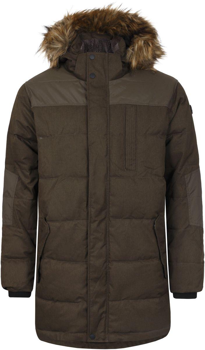 Куртка636569387L7VМужское пальто Luhta Paulos выполнено из 100% полиэстера и дополнено вставками из 100% полиамида. В качестве подкладки используется полиамид, а в качестве утеплителя - 100% полиэстер. Материал изготовлен при помощи технологий Waterproof и Windproof. Технология Waterproof обеспечивает защиту от дождя и влаги за счет приваренной с внутренней стороны мембраны, а технология Windproof защитит от ветра и гарантирует комфорт в течение всего дня. Модель с воротником-стойкой и съемным капюшоном застегивается на застежку-молнию с двумя бегунками и имеет ветрозащитную планку на кнопках. Капюшон, оформленный искусственным мехом, пристегивается к изделию за счет застежки-молнии и кнопок. Низ рукавов дополнен внутренними эластичными манжетами, а низ изделия эластичным шнурком-кулиской со стоплерами. Спереди расположено два прорезных кармана с клапанами на кнопках и один нагрудный, прорезной карман на застежке-молнии, а с внутренней стороны - небольшой накладной карман на кнопке. Под планкой...