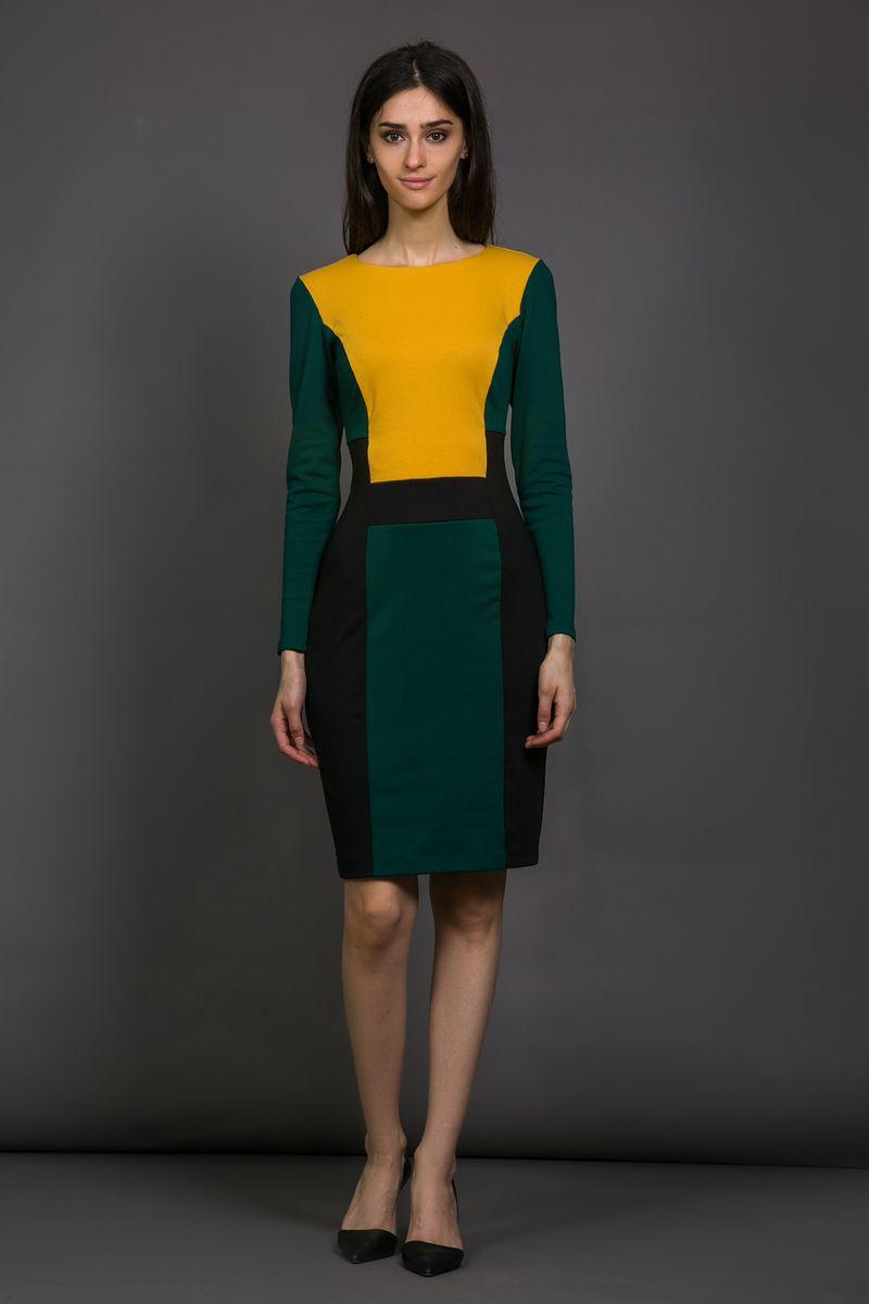 Платье14998-1Платье La Via Estelar выполнено из высококачественного комбинированного материала. Платье-миди с круглым вырезом горловины и длинными рукавами застегивается на потайную застежку-молнию расположенную в боковом шве. Платье декорировано вставками из материала разных цветов.