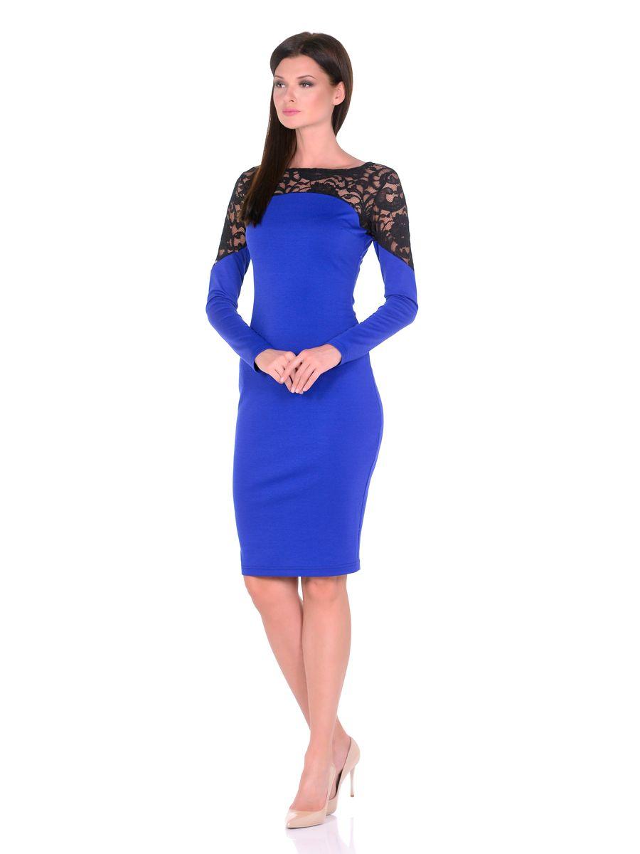 14672Роскошное облегающее силуэтное женское платье La Via Estelar украшено кружевными вставками: воротничком с круглым вырезом и верхней частью рукавов. Оформлено имитацией выреза по плечи. Имеет скрытую застежку-молнию сбоку. За счет длины миди и стилизации идеально подойдет как для вечерних приемов, так и для повседневной носки.