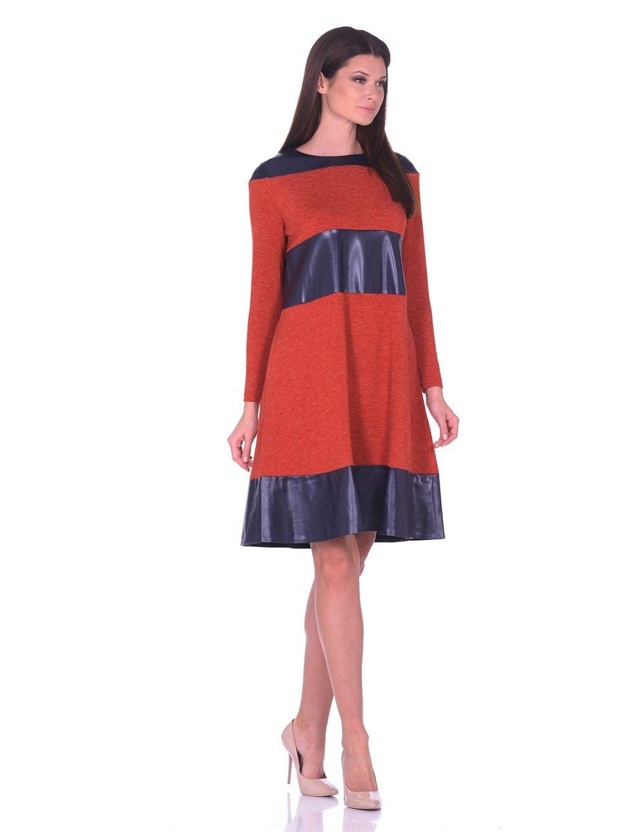 14670-1Платье La Via Estelar выполнено из полиэстера, вискозы и эластана. Модель-миди с круглым вырезом горловины и длинным рукавом оформлена вставками из искусственной кожи. По бокам расположены втачные карманы.
