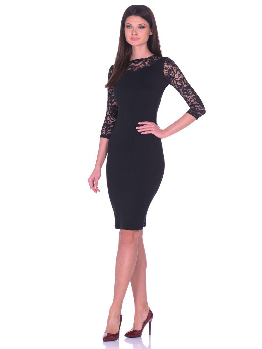 Платье14669Облегающее платье La Via Estelar имеет круглый вырез горловины, скрытую застежку-молнию сбоку и рукава 3/4. Украшено кружевными вставками.