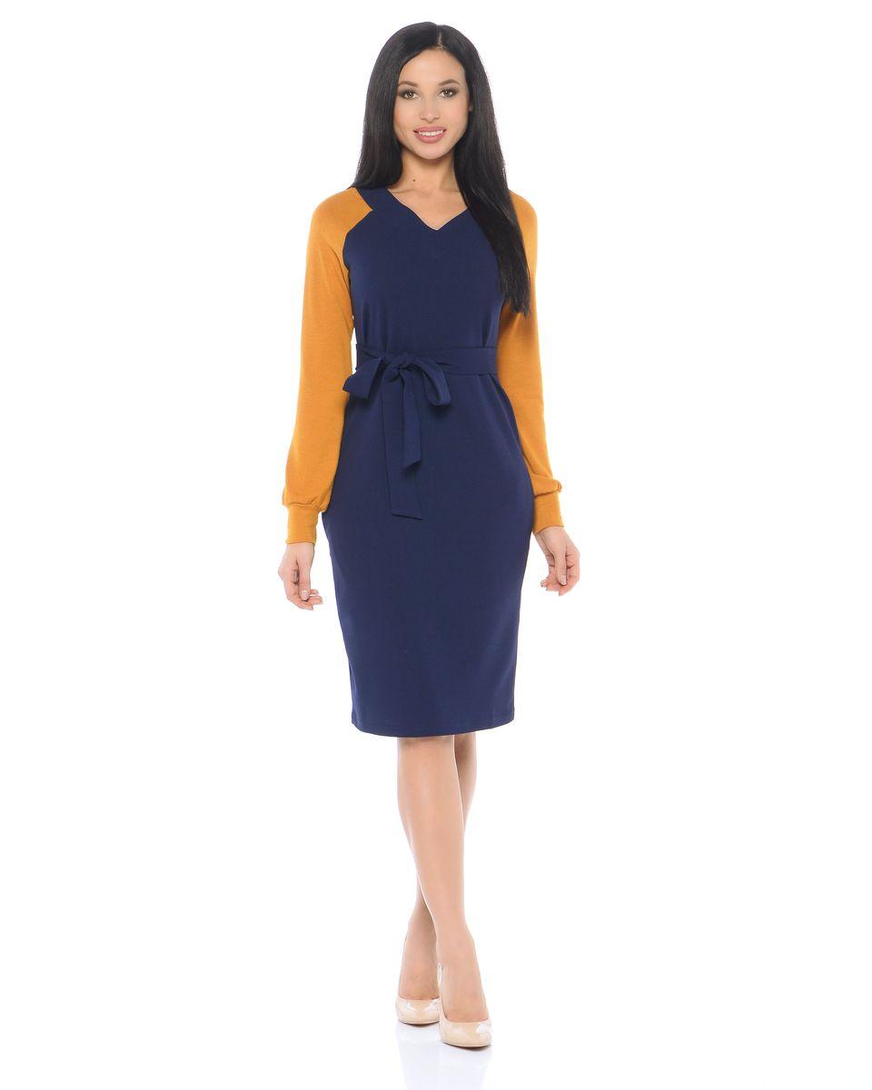 Платье14665-2Платье La Via Estelar имеет свободный силуэт, дополнено поясом. Оформлено контрастными рукавами.