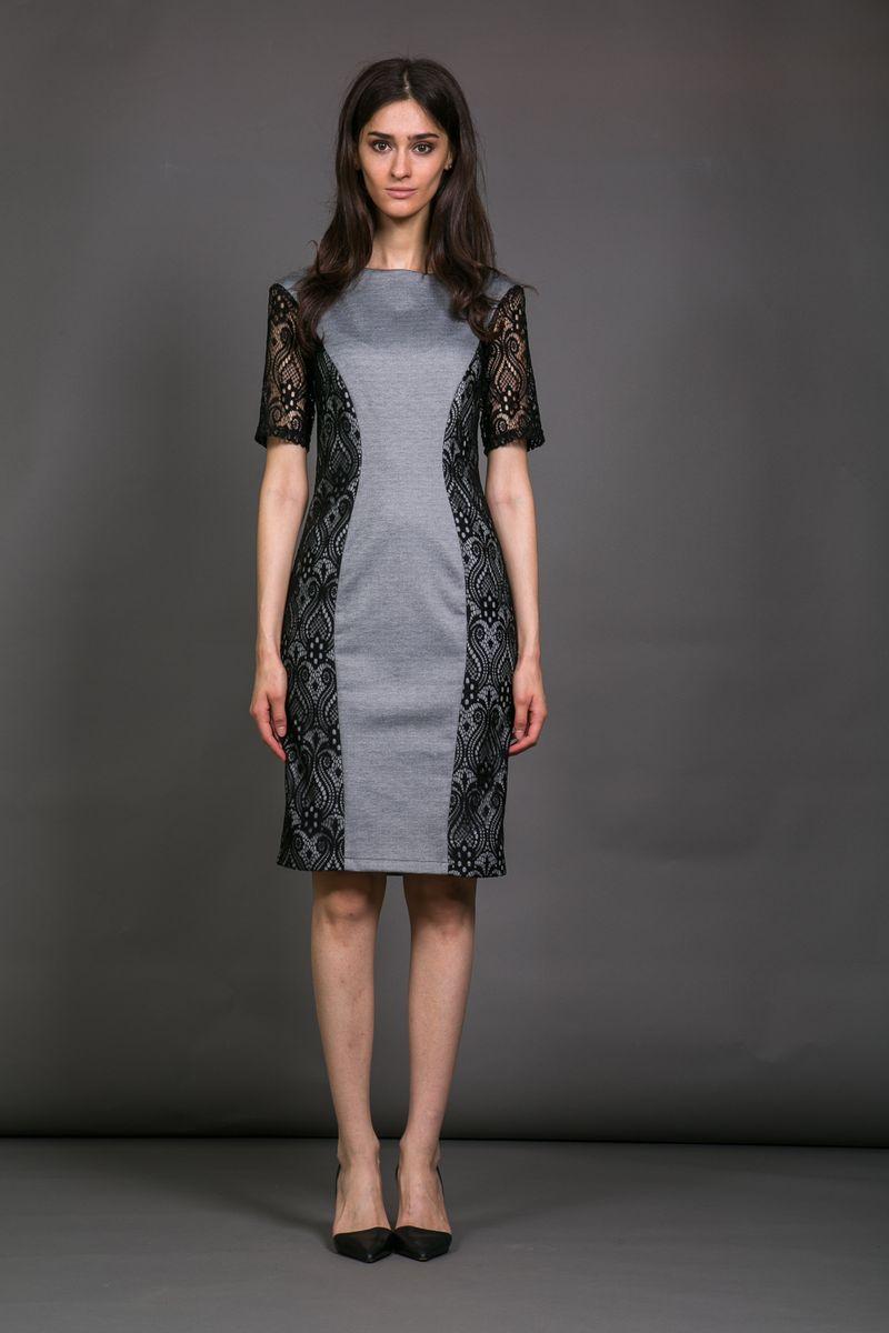 Платье12001Элегантное женское платье La Via Estelar приталенного силуэта с воротником-лодочкой и коротким рукавом украшено кружевными вставками. На спинке имеет скрытую застежку-молнию.