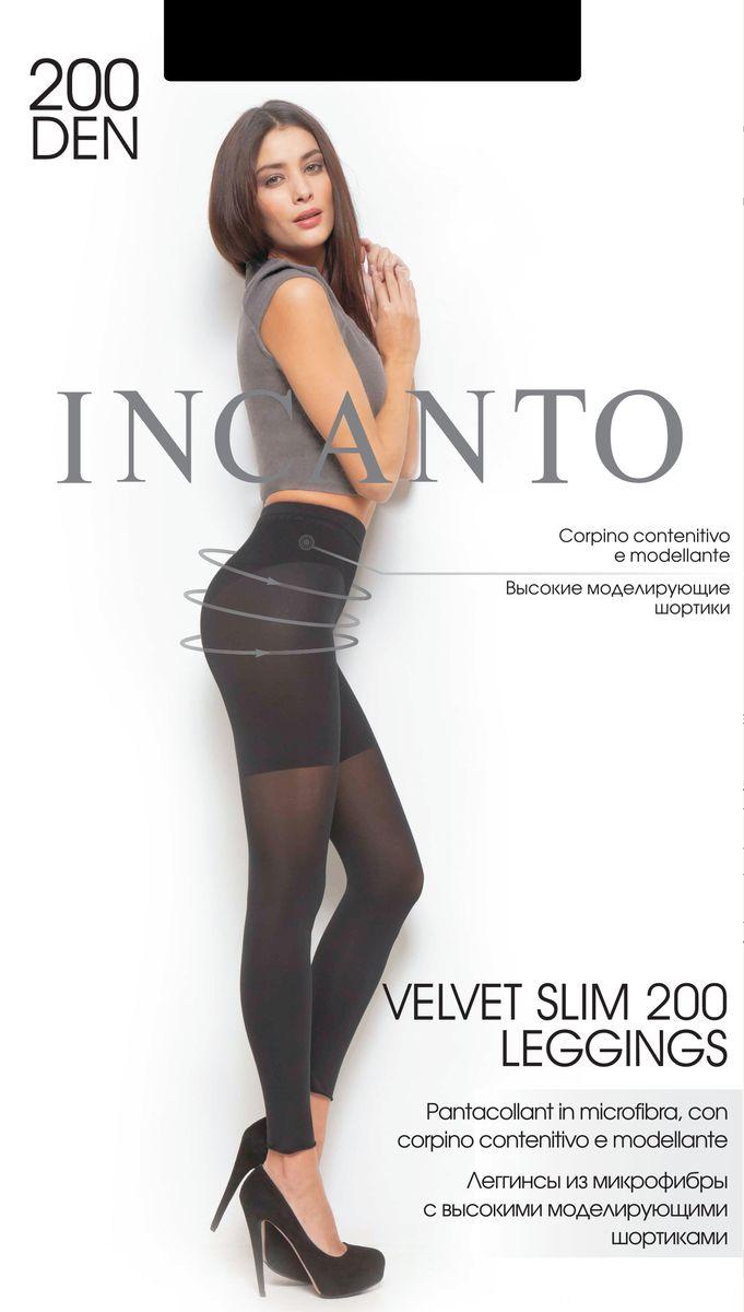 Колготки21312Леггинсы Incanto Velvet Slim 200 изготовлены из эластичного полиамида. Комфортные леггинсы с высокими моделирующим шортиками корректируют фигуру в области бедер, ягодиц и живота. Модель дополнена гигиенической ластовицей из хлопка и имеет комфортный широкий пояс. Плотность: 200 den.