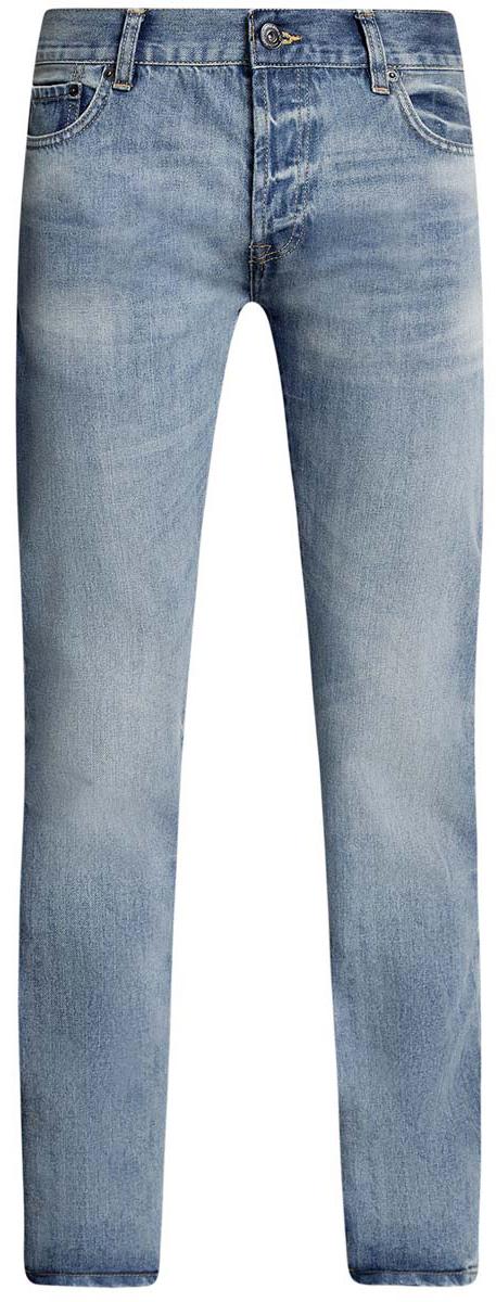 Джинсы6B130024M/35771/7500WСтильные мужские джинсы oodji Basic изготовлены из хлопка. Джинсы-слим средней посадки застегиваются на пуговицы. На поясе имеются шлевки для ремня. Спереди модель дополнена двумя втачными карманами и одним небольшим накладным кармашком, а сзади - двумя накладными карманами. Модель оформлена эффектом потертости и перманентными складками.