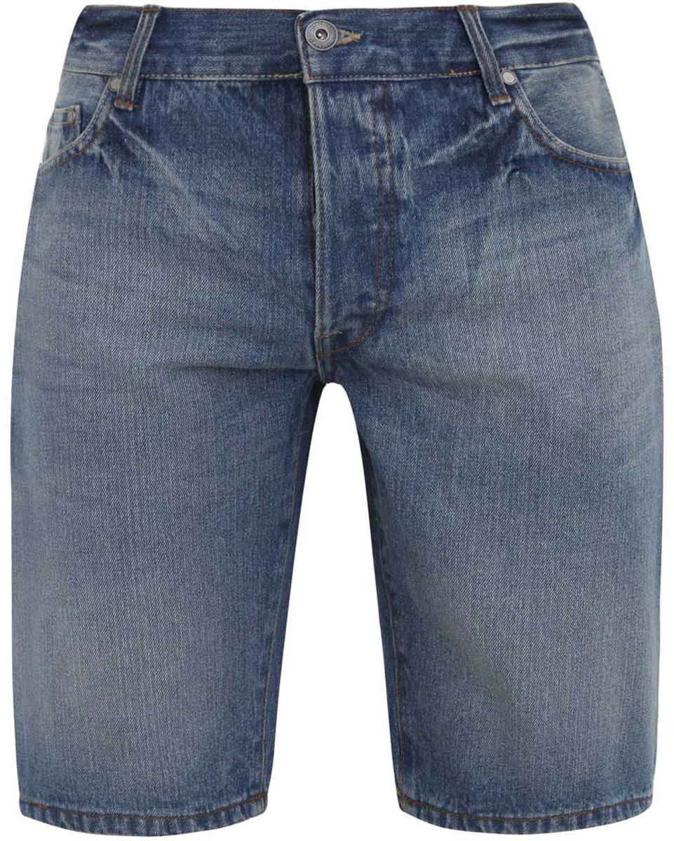 Шорты6B220004M/39642N/7500WСтильные и практичные мужские джинсовые шорты oodji выполнены из натурального хлопка. Шорты застегиваются на металлические пуговицы. На поясе расположены шлевки для ремня. Шорты имеют классический пятикарманный крой, они оснащены двумя втачными карманами, небольшим накладным кармашком спереди и двумя втачными карманами сзади.