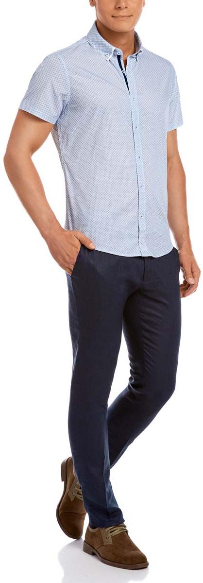Рубашка3L210026M/19370N/1075GМужская рубашка oodji из натурального хлопка скроена по классическому силуэту и плотно садится по фигуре. Имеет короткие рукава, застегивается на пуговицы спереди. Две запасные пуговицы подшиты с обратной стороны полы. Оформлена двойным воротничком.