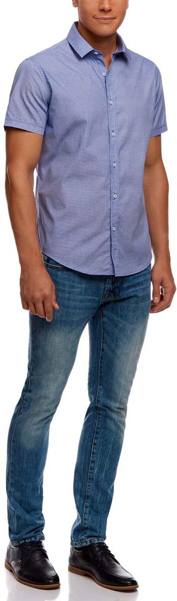 Рубашка3L210038M/19370N/7510GРубашка oodji Lab выполнена из натурального хлопка и оформлена оригинальным принтом. Модель с отложным воротником и коротким рукавом застегивается с помощью пуговиц.