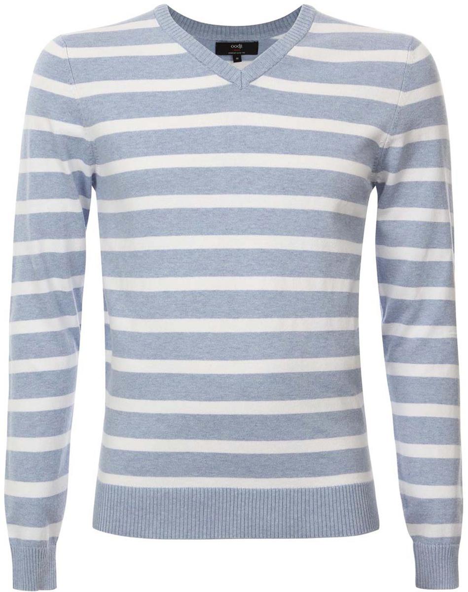 Пуловер4L212137M/39796N/7010SМужской пуловер oodji Lab изготовлен из мягкого эластичного материала. Модель имеет V-образный вырез горловины и длинные рукава. Вырез горловины, манжеты и низ изделия связаны резинкой. Оформлен пуловер принтом в полоску.