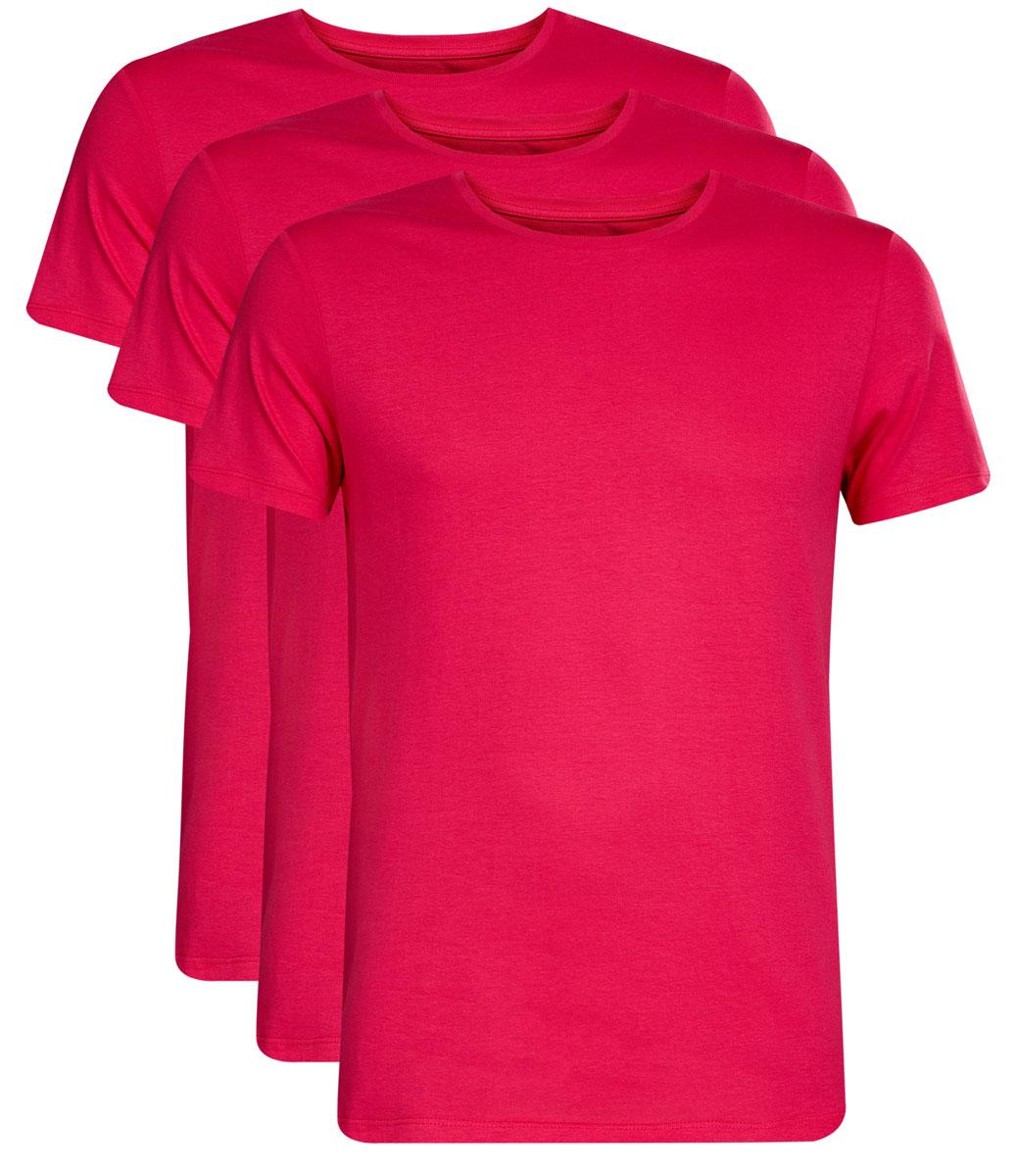 5B621002T3/44135N/4D00NМужская футболка oodji Basic изготовлена из высококачественного натурального хлопка. Модель с короткими рукавами и круглым вырезом горловины дополнена эластичной вставкой в цвет изделия по горловине. В комплекте 3 футболки.