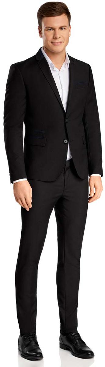 Пиджак2L420162M/39713N/2979BМужской пиджак oodji выполнен из полиэстера с добавлением вискозы. Модель с отложным воротником с лацканами и длинными рукавами застегивается на две пуговицы. Низ рукавов декорирован пуговицами. Спереди расположены три прорезных кармана, один из которых расположен на груди, с внутренней стороны - два прорезных кармана.
