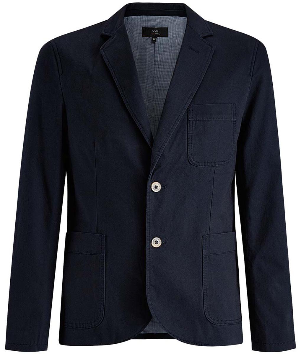 2B510004M/17653N/2900NМужской пиджак oodji Basic скроен по классическому силуэту и плотно садится по фигуре. Имеет длинные рукава, воротник с лацканами, карман слева на груди, два кармана по бокам от талии. Застегивается на пуговицы спереди и на манжетах. Сзади имеется две симметричные шлицы.