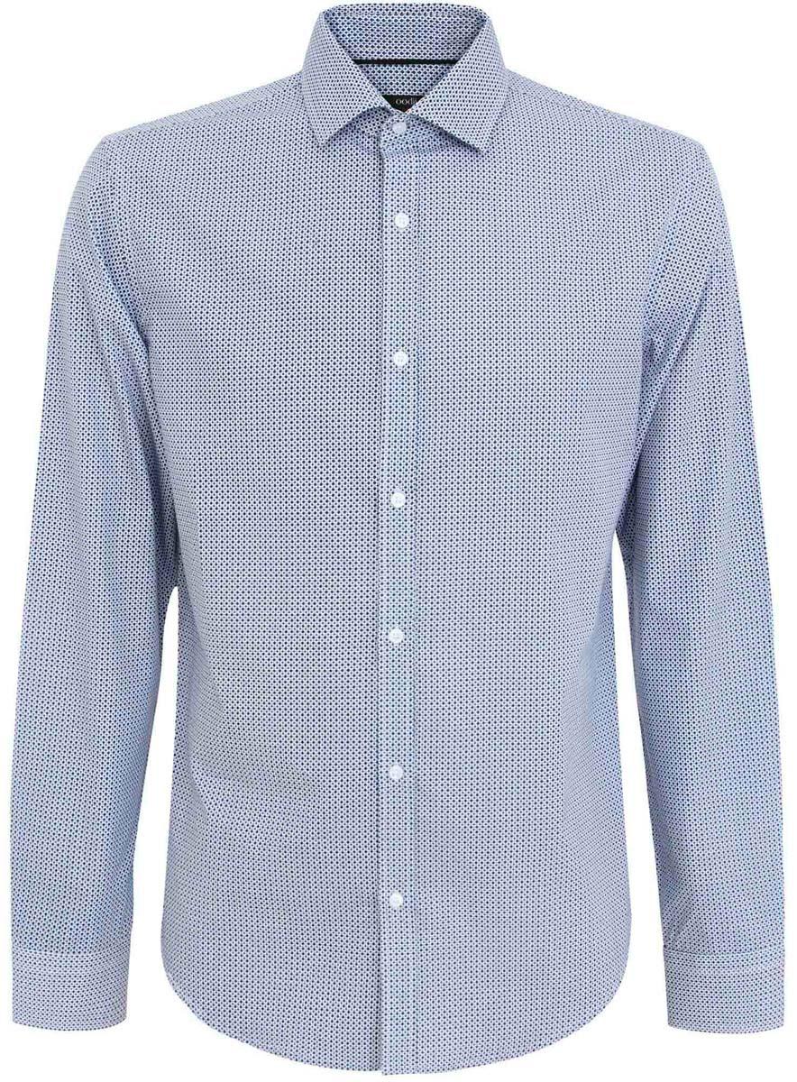 3L110181M/19370N/1079GСтильная мужская рубашка oodji Basic выполнена из натурального хлопка. Модель с отложным воротником и длинными рукавами застегивается на пуговицы спереди. Манжеты рукавов дополнены застежками-пуговицами. Оформлена рубашка мелким контрастным принтом.
