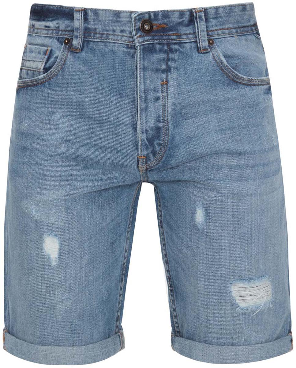 Шорты6L220013M/45590/7500WСтильные мужские джинсы oodji Lab изготовлены из хлопка. Шорты средней посадки застегиваются на пуговицы. На поясе имеются шлевки для ремня. Спереди модель дополнена двумя втачными карманами и одним небольшим накладным кармашком, а сзади - двумя накладными карманами. Модель оформлена рваным эффектом и перманентными складками.