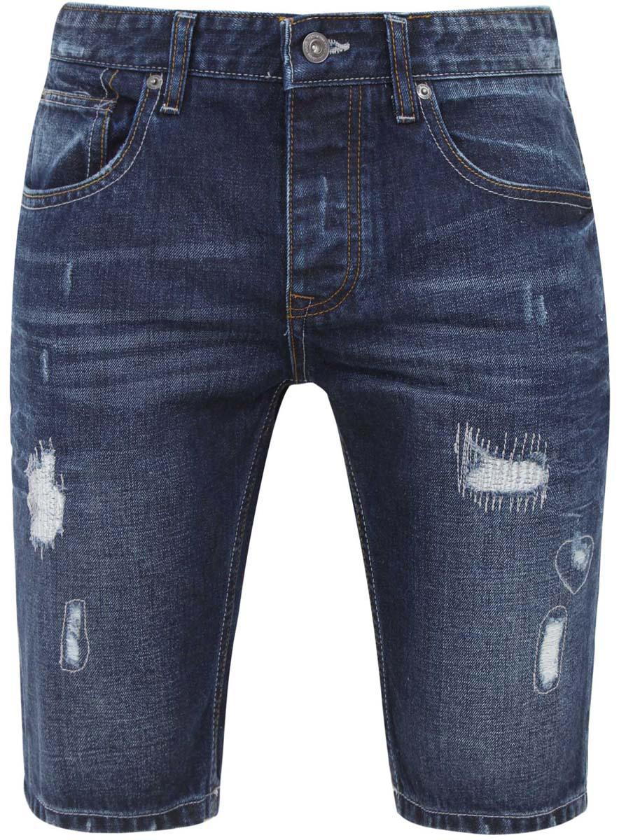 Шорты6L220009M/39661N/7500WСтильные и практичные мужские джинсовые шорты oodji выполнены из натурального хлопка. Шорты застегиваются на ширинку на застежке-молнии, а также пуговицу на поясе. На поясе расположены шлевки для ремня. Шорты имеют классический пятикарманный крой, они оснащены двумя втачными карманами, небольшим накладным кармашком спереди и двумя втачными карманами сзади. Оформлена модель потертостями.