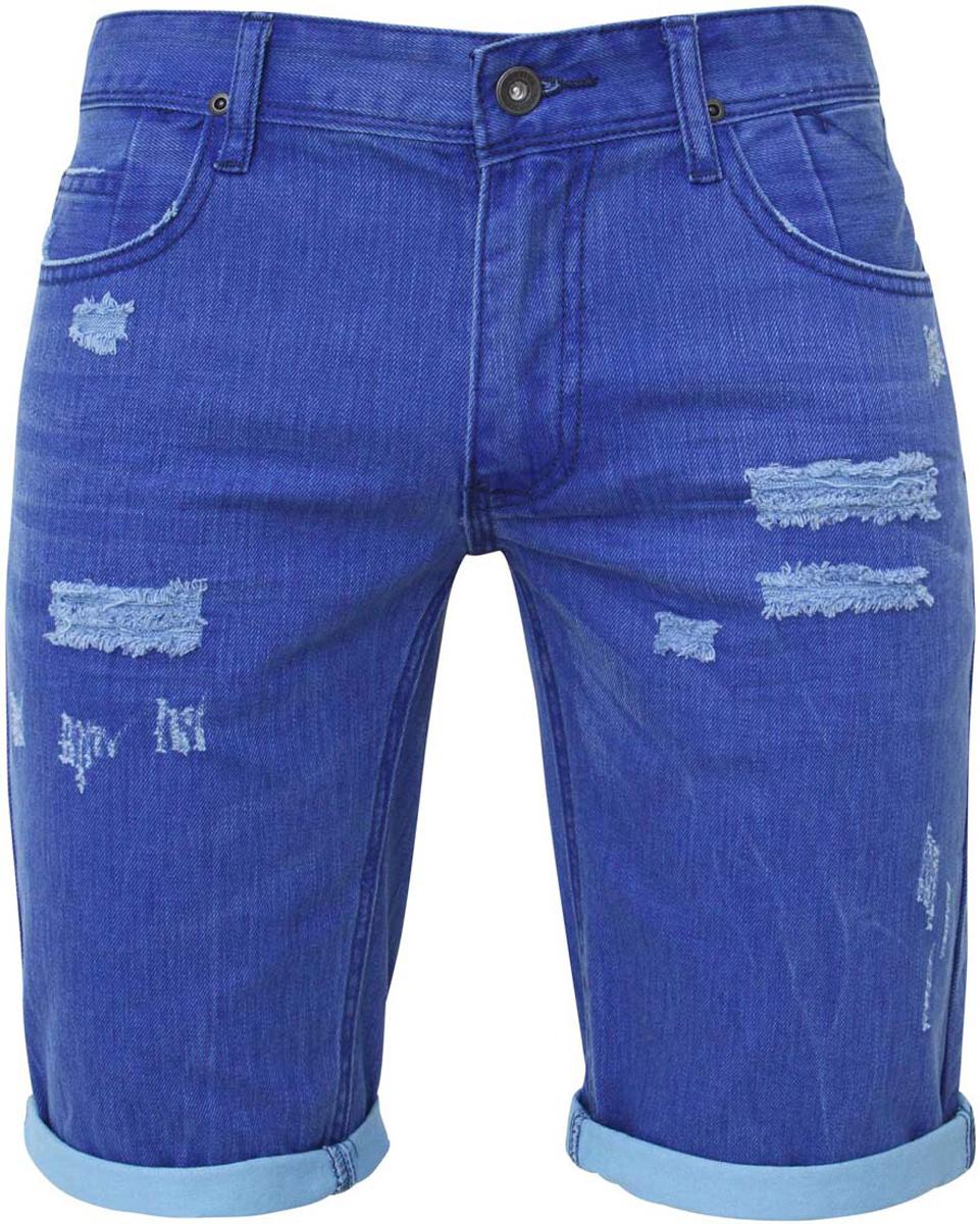Шорты6L210018M/24960N/7570WСтильные и практичные мужские джинсовые шорты oodji выполнены из натурального хлопка. Шорты застегиваются на ширинку на застежке-молнии, а также пуговицу на поясе. На поясе расположены шлевки для ремня. Шорты имеют классический пятикарманный крой, они оснащены двумя втачными карманами, небольшим накладным кармашком спереди и двумя втачными карманами сзади. Оформлена модель потертостями.