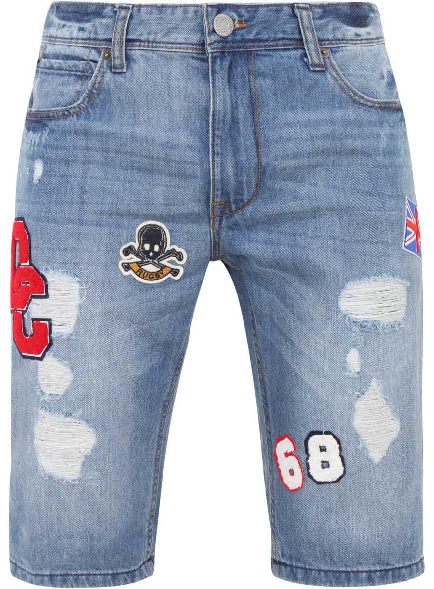 Шорты6L210017M/39756N/7500WСтильные и практичные мужские джинсовые шорты oodji выполнены из натурального хлопка. Шорты застегиваются на ширинку на застежке-молнии, а также пуговицу на поясе. На поясе расположены шлевки для ремня. Шорты имеют классический пятикарманный крой, они оснащены двумя втачными карманами, небольшим накладным кармашком спереди и двумя втачными карманами сзади. Оформлена модель потертостями и оригинальными нашивками.