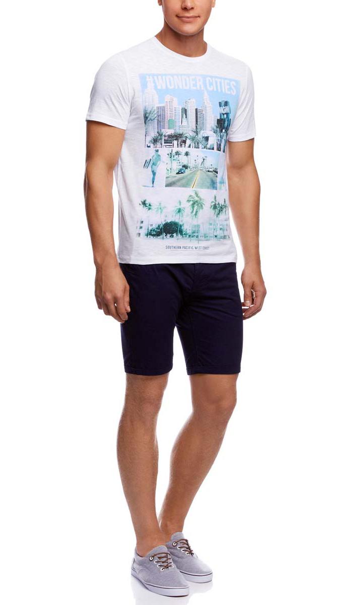 Футболка5L611283M/44164N/1052PМужская футболка oodji изготовлена из натурального высококачественного хлопка. Выполнена с круглым воротом и классическими короткими рукавами. Оформлена принтом с изображением пальм и дороги.