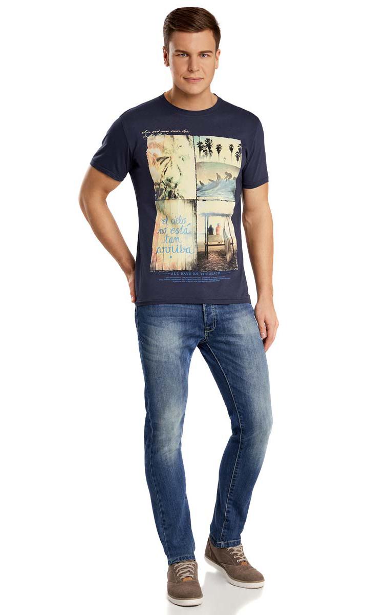 5L611165M/39496N/7950PМужская футболка oodji изготовлена из высококачественного натурального хлопка. Классическая модель с короткими рукавами и круглым вырезом горловины дополнена абстрактным принтом с изображением пляжей и серфинга.