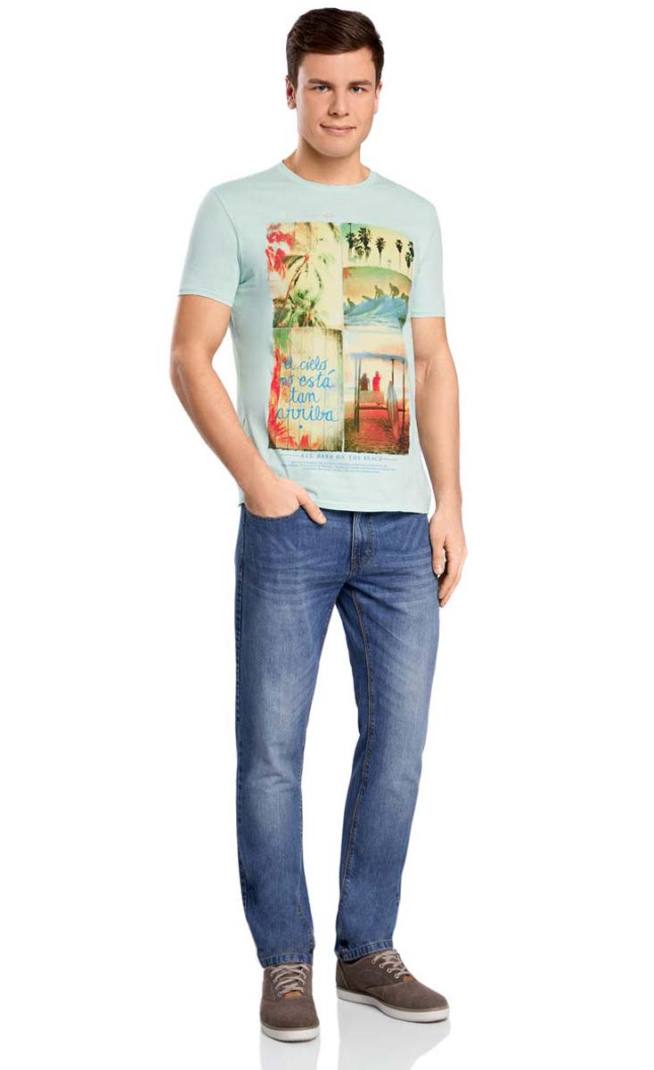 Футболка5L611165M/39496N/7950PМужская футболка oodji изготовлена из высококачественного натурального хлопка. Классическая модель с короткими рукавами и круглым вырезом горловины дополнена абстрактным принтом с изображением пляжей и серфинга.