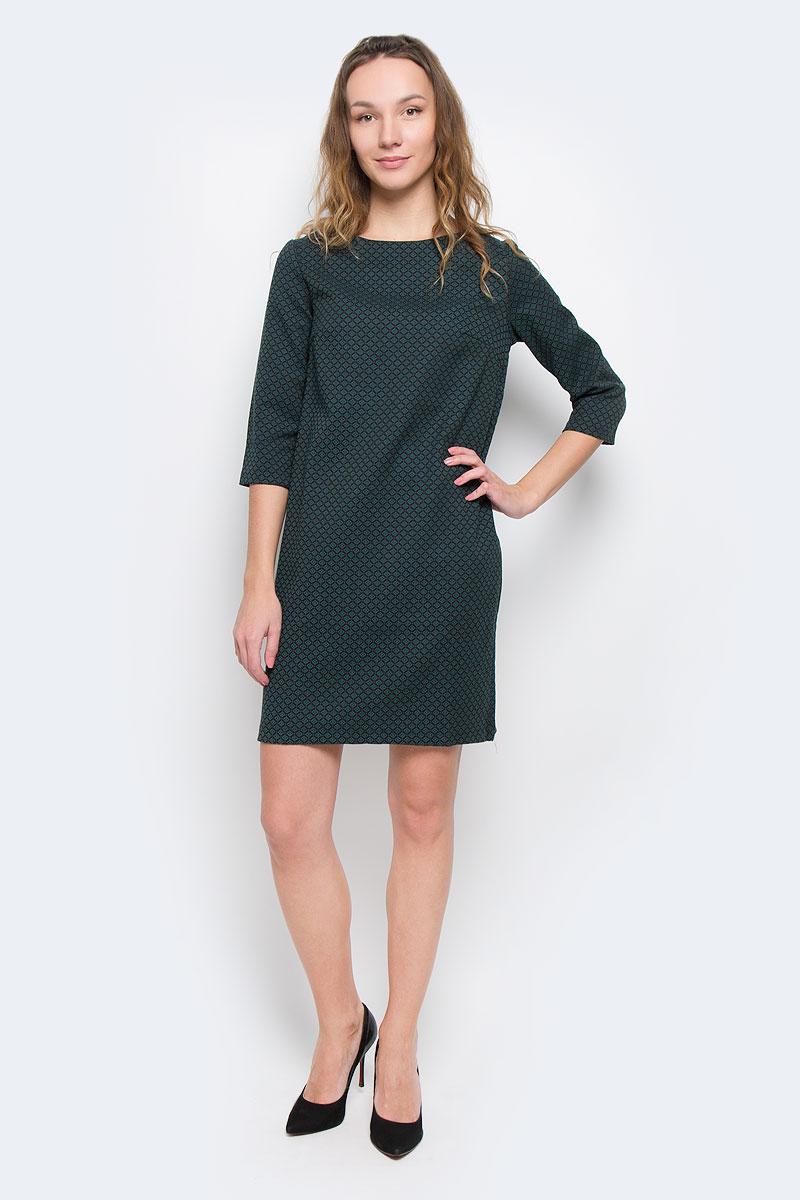 B455509Стильное платье Baon придаст очарование и женственность своей обладательнице. Модель свободного кроя, выполнена из трикотажа средней плотности. Платье с круглым вырезом горловины и рукавами длиной 3/4. Материал оформлен жаккардовым рисунком. На груди расположены вытачки. Застёгивается изделие на металлическую молнию на спинке. Изысканный наряд создаст обворожительный неповторимый образ.