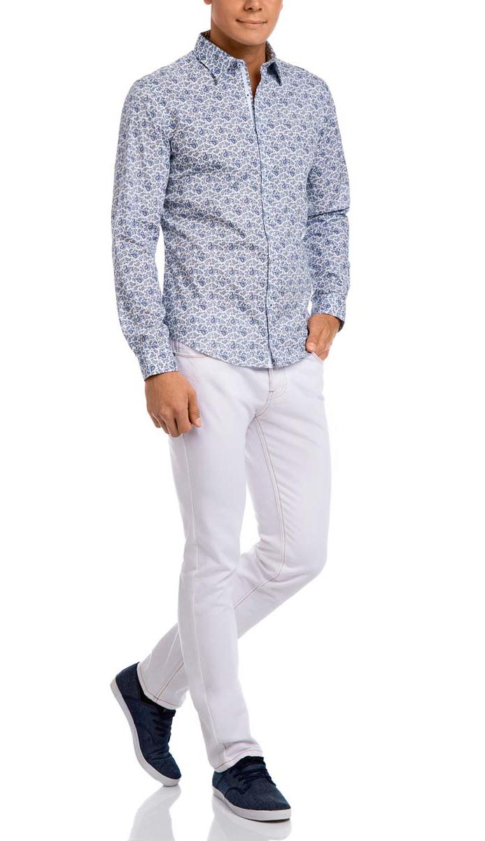 Рубашка3L110187M/34156N/1029EМужская рубашка oodji выполнена из натурального хлопка. Рубашка с длинными рукавами и отложным воротником застегивается на пуговицы спереди. Манжеты рукавов также застегиваются на пуговицы. Оформлена модель оригинальным принтом.