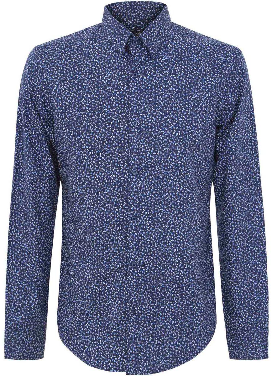 Рубашка3L110177M/19370N/7975FМужская рубашка oodji выполнена из натурального хлопка. Рубашка с длинными рукавами и отложным воротником застегивается на пуговицы спереди. Оформлено изделие цветочным принтом.
