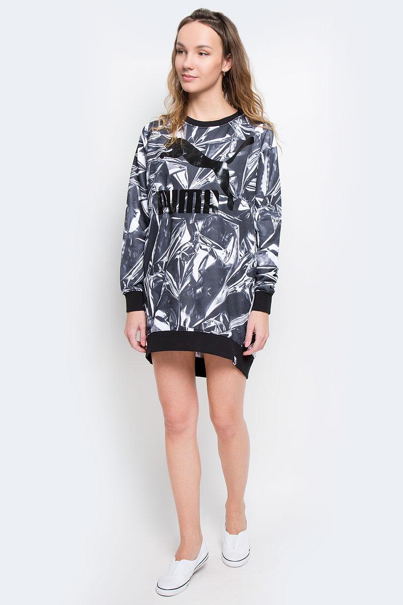 Платье571477_24Платье Puma AOP Dress выполнено из хлопкового трикотажа. Модель с круглым вырезом, рукавами-реглан дополнена двумя карманами по бокам.
