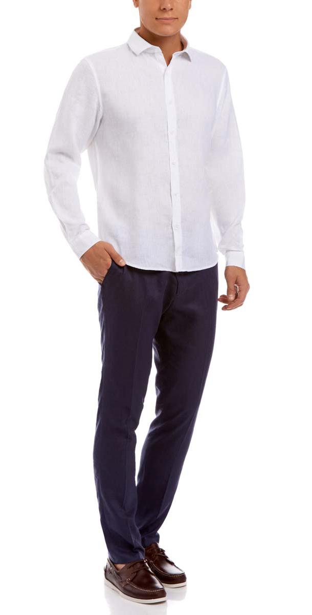 Рубашка3B110010M/44224N/1000NСтильная мужская рубашка oodji Basic, выполнена из натурального льна. Модель-слим с отложным воротником и длинными рукавами застегивается на пуговицы по всей длине. Манжеты рукавов оснащены застежками-пуговицами.