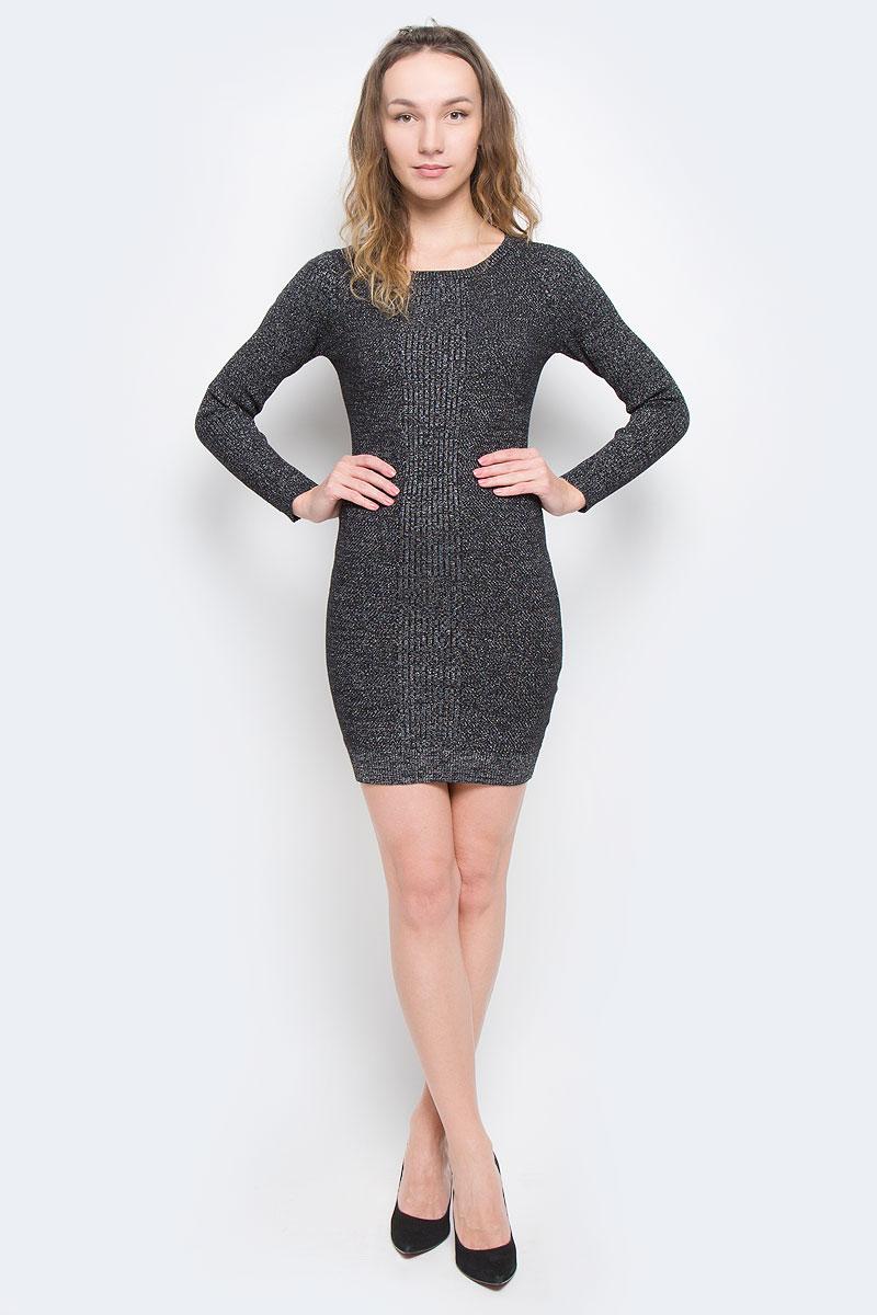 Платье5019540.01.71_2999Платье Tom Tailor Denim выполнено из хлопка, полиамида и металлизированной нити. Модель с круглым вырезом горловины и длинными стандартными рукавами. Низ и манжеты дополнены эластичными нетугими резинками.