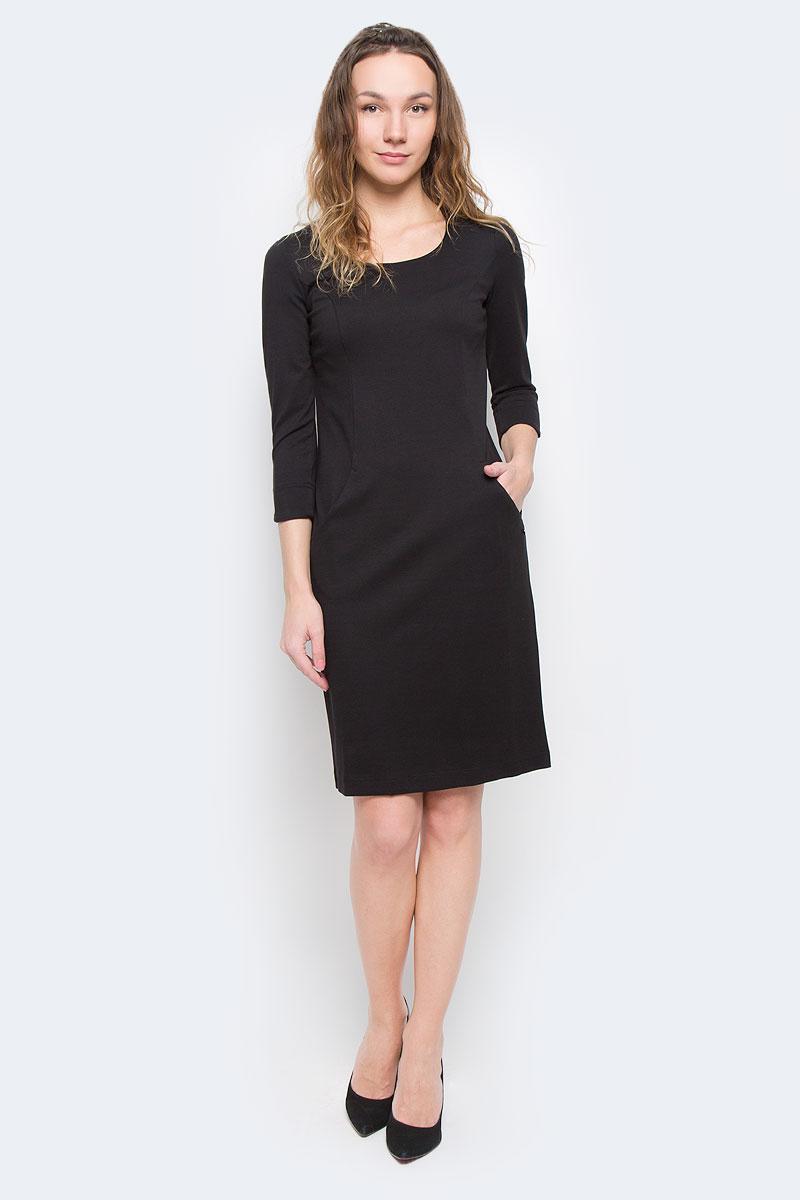 ПлатьеW15-11025Элегантное платье Finn Flare выполнено из полупрозрачного струящегося материала и имеет плотную непрозрачную подкладку. Такое платье обеспечит вам комфорт и удобство при носке. Модель с рукавами 3/4 и круглым вырезом горловины выгодно подчеркнет все достоинства вашей фигуры. Сзади платье украшено имитацией застежки на кнопках. Платье дополнено двумя открытыми втачными карманами. Изысканное однотонное платье-миди создаст обворожительный и неповторимый образ. Это модное и удобное платье станет превосходным дополнением к вашему гардеробу, оно подарит вам удобство и поможет вам подчеркнуть свой вкус и неповторимый стиль.