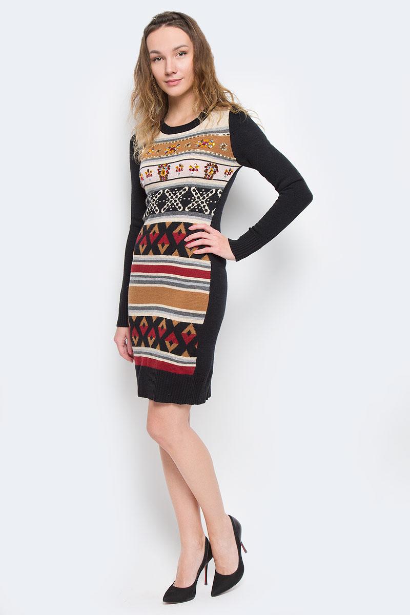 B455544Вязаное женское платье Baon приталенного кроя идеально идеальное решение в прохладное время года. Изготовленное из акрила, полиамида с добавлением ангоры, оно теплое и приятное на ощупь, не сковывает движения и позволяет коже дышать, не раздражает даже самую нежную и чувствительную кожу. Вязаное платье с длинными рукавами и круглым вырезом горловины оформлено актуальным орнаментом. Грудь украшена обилием узоров из декоративных пластиковых камней. Рукава, вырез горловины и низ платья связаны резинкой. Платье Baon послужит отличным дополнением к гардеробу любой модницы. В нем она будет чувствовать себя уютно и комфортно, и всегда будет в центре внимания!