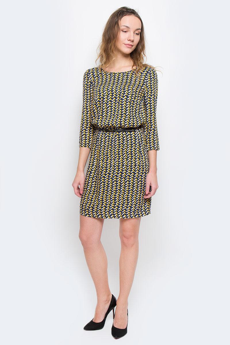 W15-12027Элегантное платье Finn Flare выполнено из 100% вискозы. Такое платье обеспечит вам комфорт и удобство при носке. Модель с рукавами 3/4 и круглым вырезом горловины выгодно подчеркнет все достоинства вашей фигуры. Платье оформлено оригинальным контрастным принтом. В комплект входит узкий ремень с металлической пряжкой. Изысканное платье-миди создаст обворожительный и неповторимый образ. Это модное и удобное платье станет превосходным дополнением к вашему гардеробу, оно подарит вам удобство и поможет вам подчеркнуть свой вкус и неповторимый стиль.