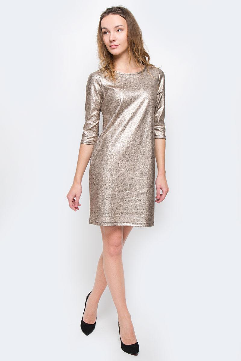 ПлатьеSSU1698CAМодное платье Top Secret станет отличным дополнением к вашему гардеробу. Модель выполнена из вискозы с добавлением полиэстера и эластана. Платье-миди с круглым вырезом горловины и рукавами 3/4 оформлено оригинальным принтом.